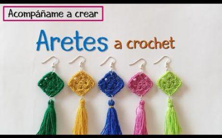 Tutorial fácil: aretes a crochet con borlas | granny square | manualidades paso a paso bisutería
