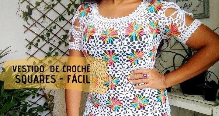 Vestido de crochê com squares coloridos - 1ª parte