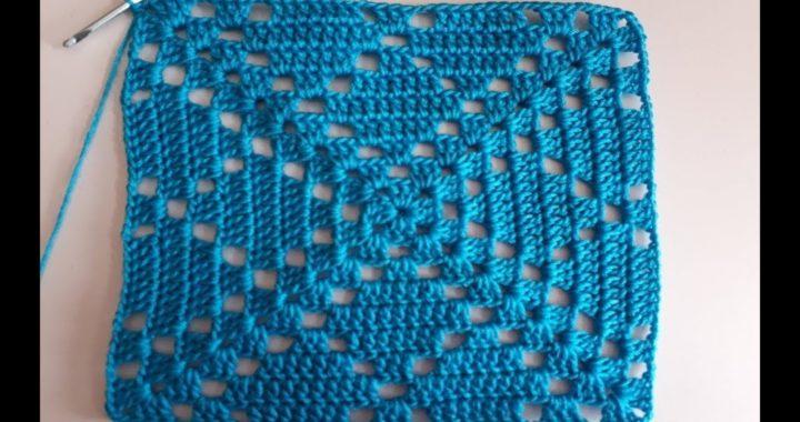 cuadro a crochet - paso a paso - facil de tejer - cuadrado a crochet para mantel