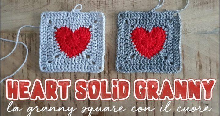 piastrella granny con il cuore - heart solid granny square