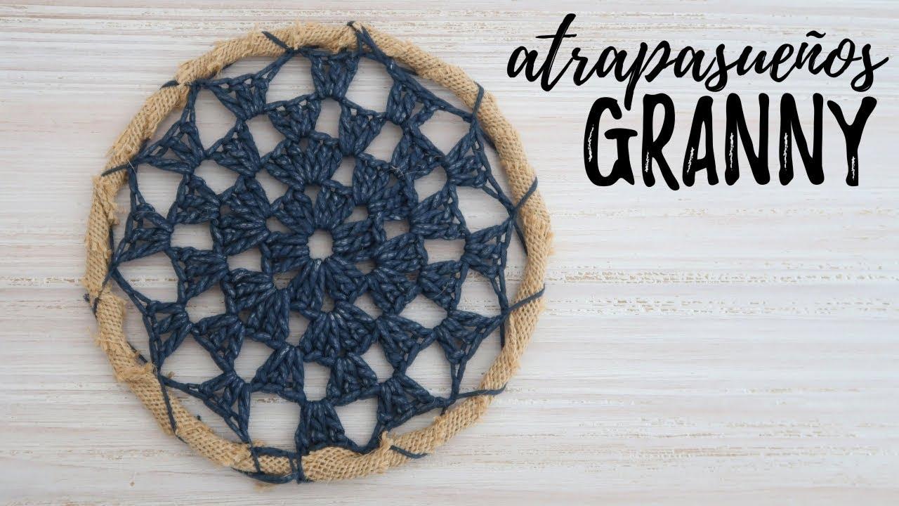ATRAPASUEÑOS TIPO GRANNY a CROCHET | #JardinDeAtrapasueños | Ahuyama Crochet
