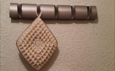 Agarradera de cocina a crochet, tejido facil y rapido, punto waffle