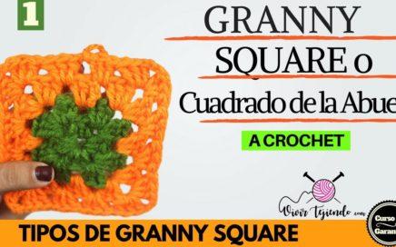 Aprende a tejer Granny Square 1 o Cuadrado de la Abuela a Crochet | Curso de Crochet Básico