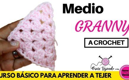 Aprender a Tejer Medio Granny a crochet | Tejidos Básicos a Crochet/Ganchillo
