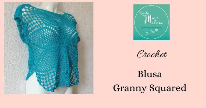 BLUSA GRANNY SQUARE,  Tejida a Crochet