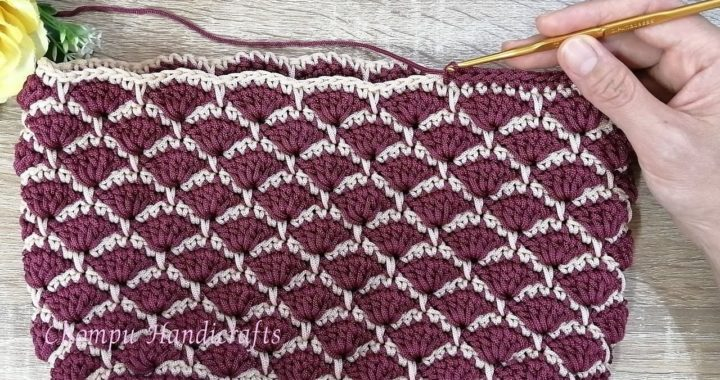 Basic to crochet a fan stitch  pattern | สอนถักเชือกร่ม ลายพัด
