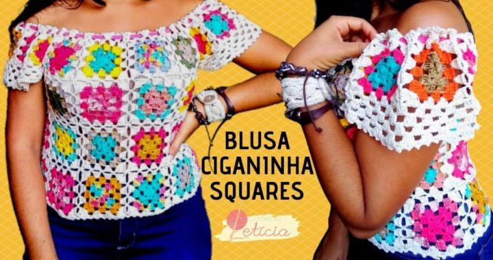 Blusa Ciganinha em crochê - com squares coloridos