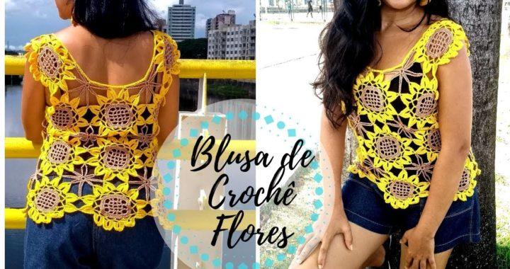 Blusa de Crochê Flores