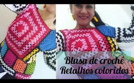 Blusa  de crochê outono retalhos coloridos, tutorial passo a passo fácil de fazer. #marcialobocroche