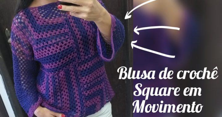 Blusa de crochê square em movimento, tutorial passo a passo fácil e rápido de fazer.