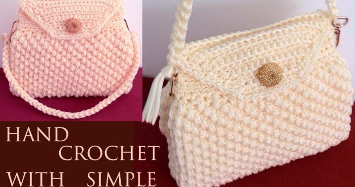 Bolso fácil a Crochet punto 3D copitos de algodón tejido tallermanualperu