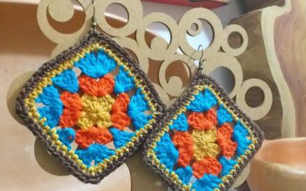 "Brinco de croche ""Square colorido"", rápido e fácil de fazer. #marcialobocroche #handmade"