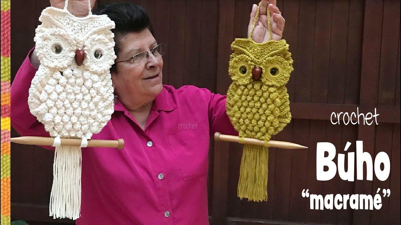 Búhos imitación MACRAMÉ tejidos a crochet 🦉 / Tejiendo Perú