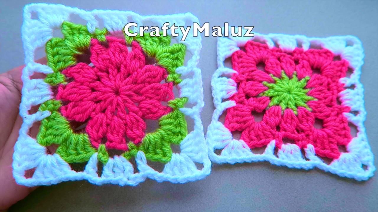 CROCHET TUTORIAL 👉Cuadro De La Abuela a Crochet Muy Fácil 👍Cuadrado de la abuelita tejido