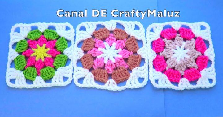 CROCHET TUTORIAL Granny Square a Crochet Aplicación de Crochet