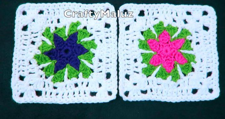 CROCHET TUTORIAL 👉(granny square) Cuadro a crochet paso a paso cuadro tejido muy fácil