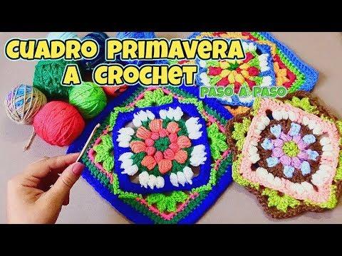 CUADRO PRIMAVERA - GRANNY TEJIDO A CROCHET PASO A PASO