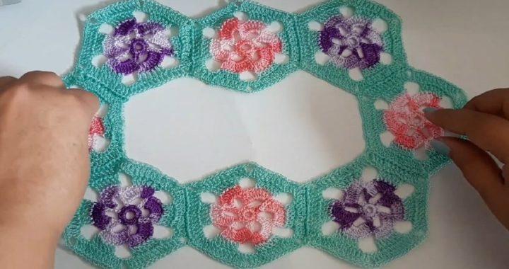 Canesu a tejido a crochet para blusas paso a paso facil y rapido, tejido con hexágonos de flores