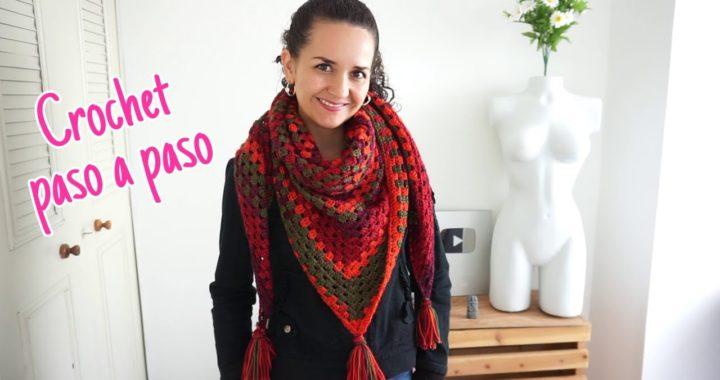 Chal triangular a crochet - granny