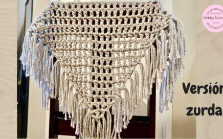 Chal triangular básico a crochet para principiantes, paso a paso (Versión zurda)
