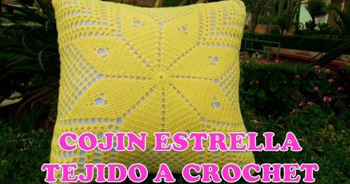 Cojín o funda para cojines tejido a crochet ESTRELLA paso a paso