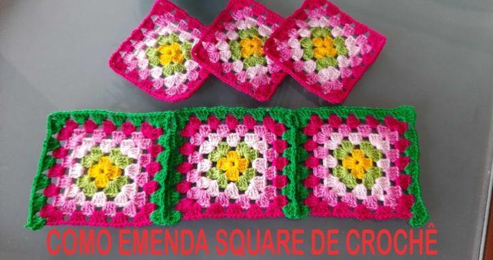 Como emendar square  de crochê sem cortar o fio,Por Neddy Ghusmam