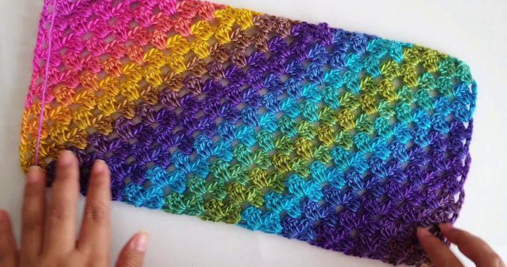 Como hacer CUADRADO a crochet - RECTÁNGULO a crochet PUNTO FACIL #StayHome