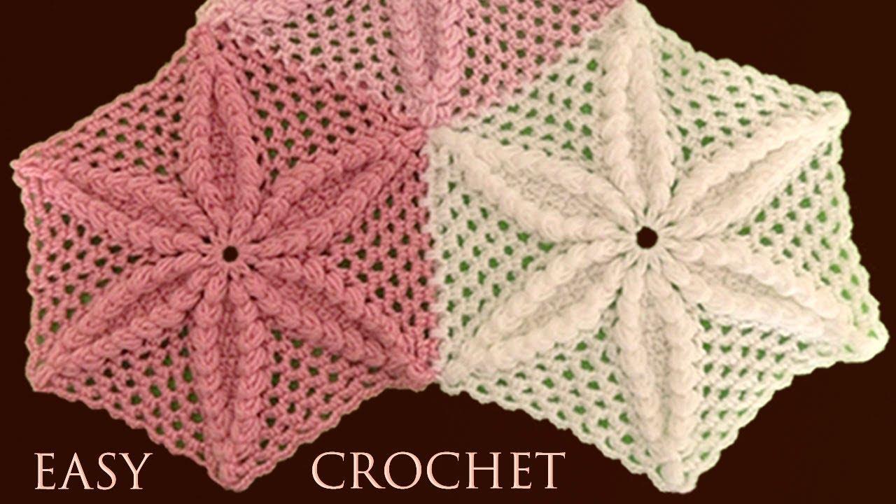 Como hacer fácil Tapete Camino de Mesa a Crochet tejido de flor en 3D paso a paso