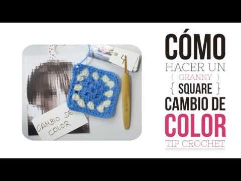 Cómo hacer un cuadrado crochet y cambiar de color . Granny square. Tip Milcentdeu