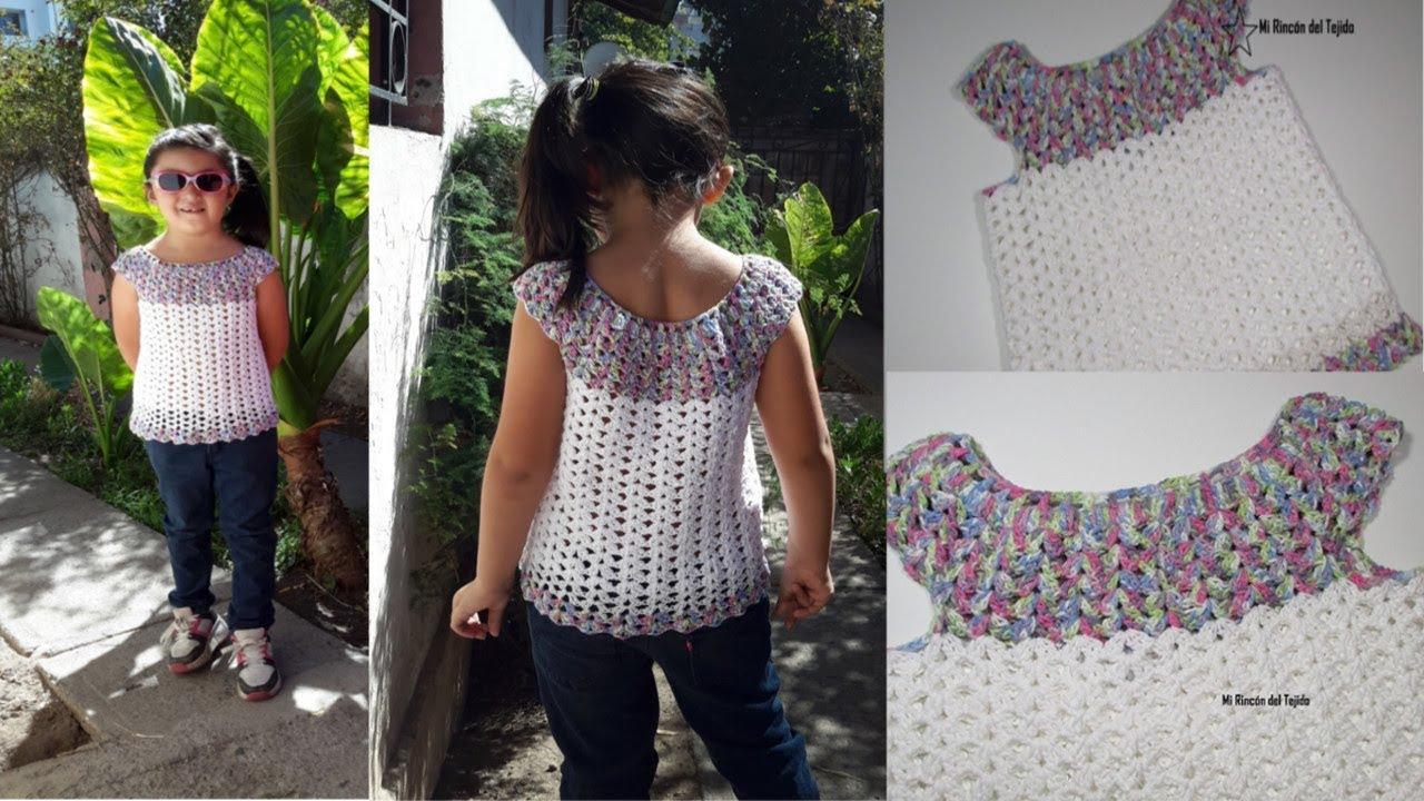 Como tejer BLUSA NIÑA PRIMAVERA crochet paso a paso - How to crochet GIRL BLOUSE SPRING step by step