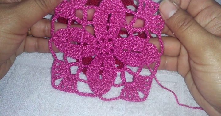 Cómo tejer Granny SQUARE CROCHET Con flor de 4 pétalos para blusas 👚👗👙