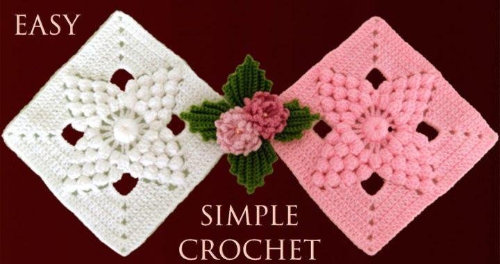 Como tejer a crochet paso a paso un cuadrado para tapete camino de mesa cobijas mantas