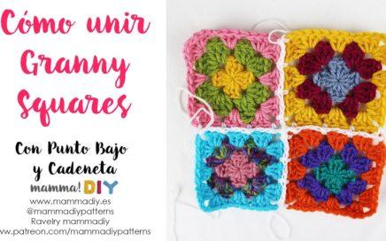 Como unir Granny Squares con Punto Bajo y Cadeneta por Cecilia Losada de Mamma Do It Yourself