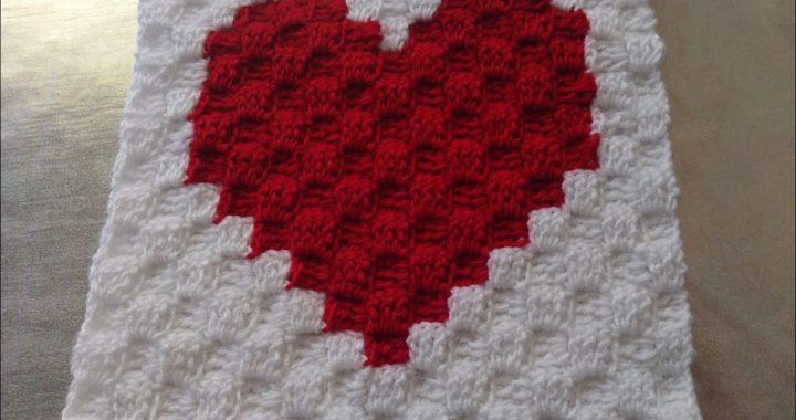 Corazón a Crochet técnica C2c Corner to Corner