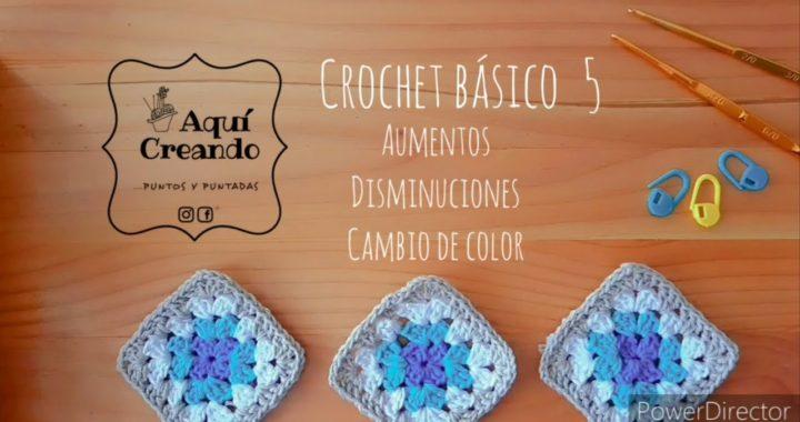 Crochet Básico 5  Aumentos-  Disminuciones  -  Cambio de color