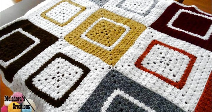 Crochet Cluster Granny Square Afghan - Granny Square Afghan - Right