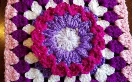 Crochet Colorful Flower Granny Square Design #7 DIY Video Tutorial