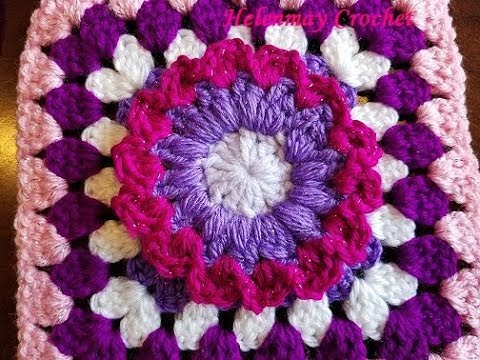 Crochet Colorful Flower Granny Square Design #7 DIY Video Tutorial