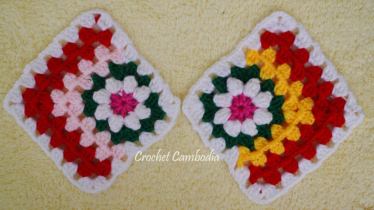 Crochet Flower Granny Square, How To Crochet a Flower Granny Square, Granny Square for Beginner