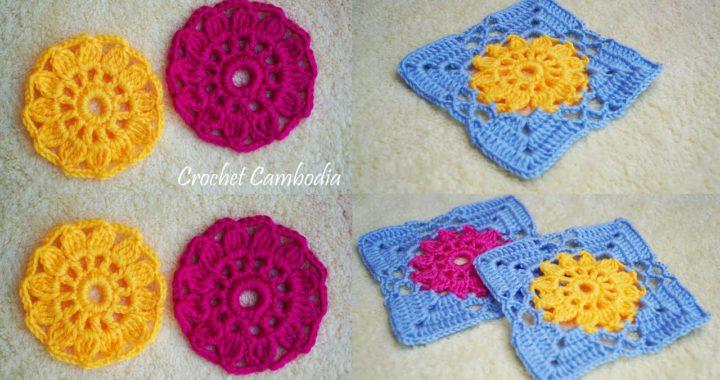Crochet Flower Granny Square Tutorial, How to crochet EASY for beginners CROCHET Motif Flower