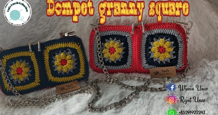 Crochet Granny Square// Dompet Rajut //Granny Square Bag