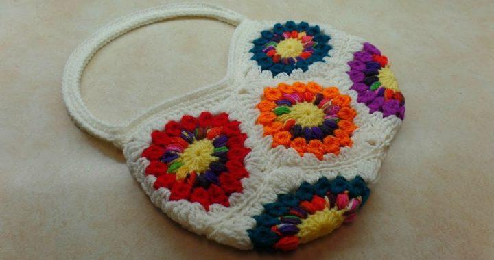 Crochet Granny Square bag | Crochet Sunburst Granny Square Bag | Bag O Day Crochet tutorial