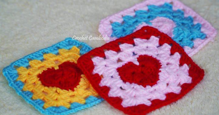 Crochet Heart Granny Square, Praça de Granny de crochê, Cómo tejer un Granny Square