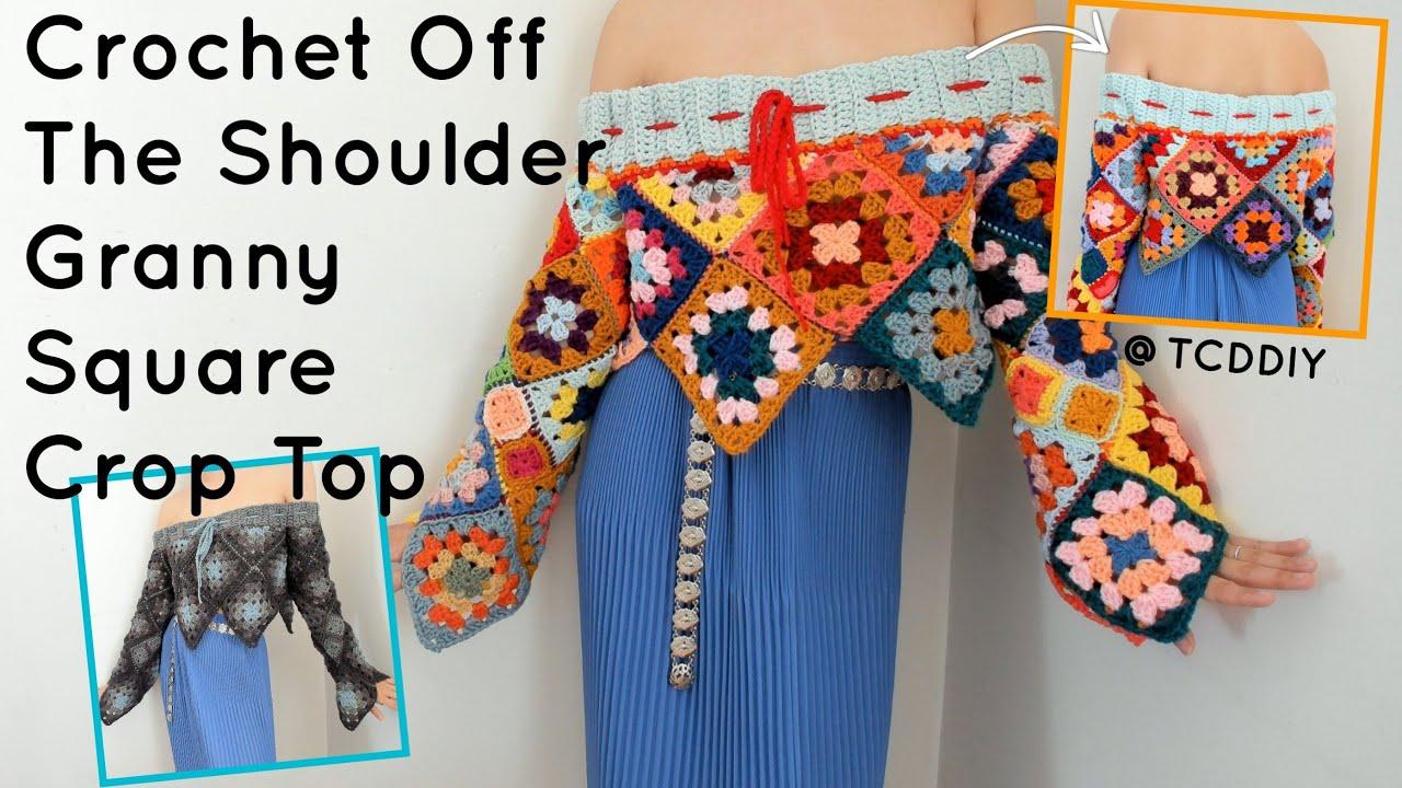 Crochet Off The Shoulder Granny Square Crop Top | Tutorial DIY