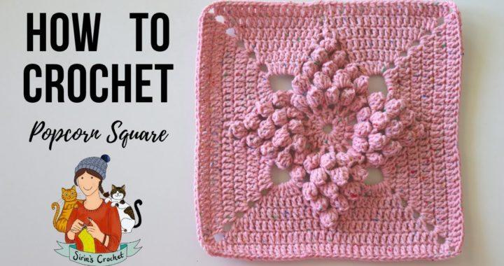 Crochet Popcorn Stitch Granny Square