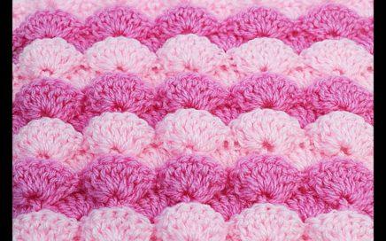 Crochet stitch of embossed fans very easy  #crochet, crochetveryeasy