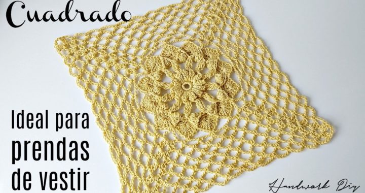 Cuadrado a crochet con motivo de flor central | Handwork Diy
