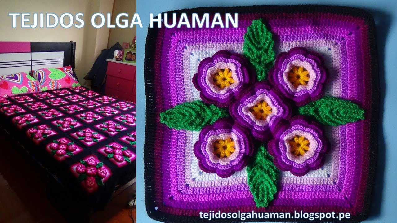 Cuadrado de 5 flores tejido a crochet para colchas y cojines paso a paso