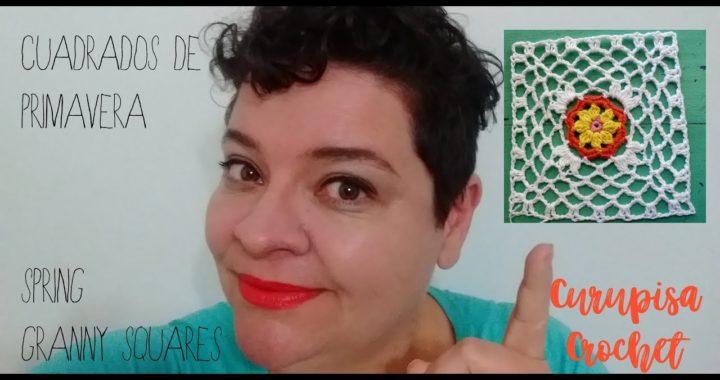 Cuadrados primaverales  a ganchillo - Spring crochet granny squares (subtitles in English)