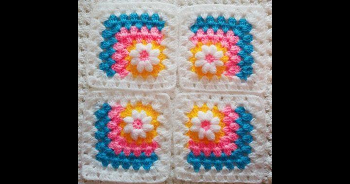 Daisy in the corner granny square -crochet tutorial (sinhala)